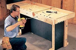 Drilling Dog Holes Workbench, Kids Bench Plans, Bedside