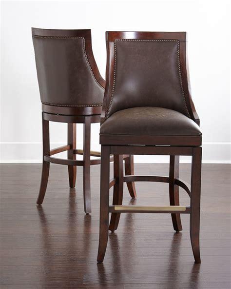 logan leather swivel barstool medium brown