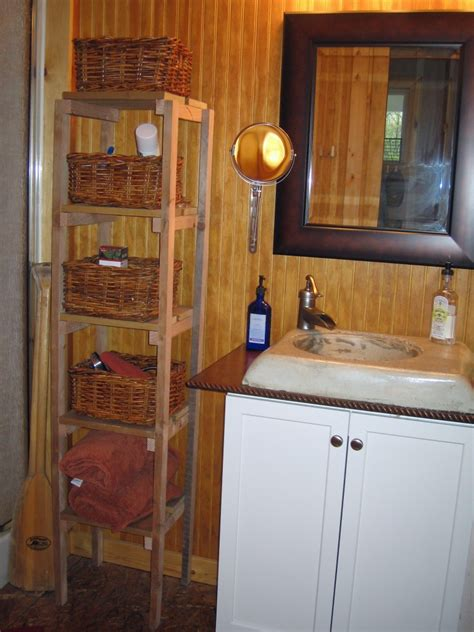 homemade  inexpensive rustic cabin bathroom decor