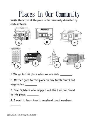places in our community worksheet free esl printable 145 | df49b4f66b666afc4df5b97001e76e46