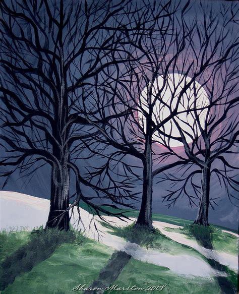 night   winter moon painting  sharon marcella