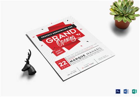 Grand Opening Flyer Design Template In Word, Psd