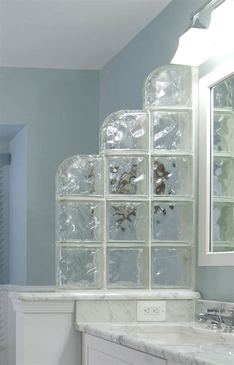 glass block divider   bathroom offers privacy
