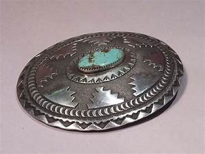 Vintage Sterling Silver Concho Belt Buckle Turquoise Stone ...