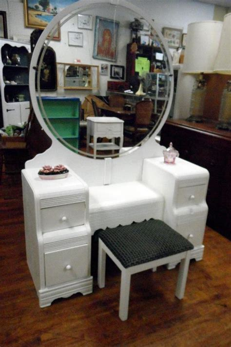 waterfall vanity dresser set vintage deco white waterfall vanity set flea pop