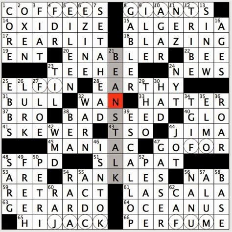 Boat Song Crossword by Rex Does The Nyt Crossword Puzzle Networkedblogs