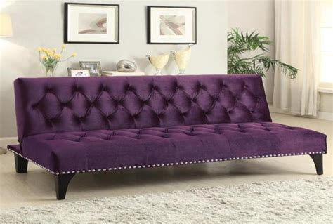 Purple Sofa Bed by Purple Transitional Sofa Bed With Velvet Upholstery