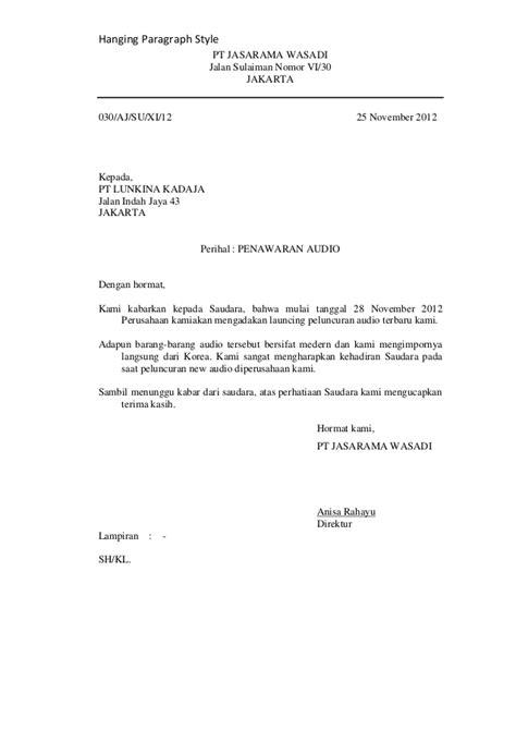Contoh Surat Penawaran Barang Hanging Paragraph by Hanging Paragraf Style Nasional