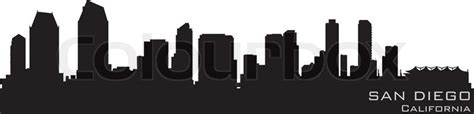 san diego california skyline detailed vector silhouette