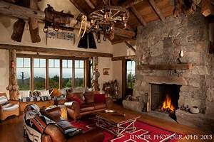 Log Cabin Living Room - Traditional - Family Room - san