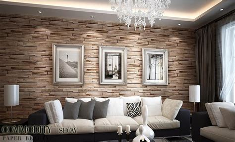 rustic modern  room faux brick wall wallpaper bedroom