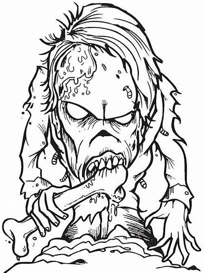 Coloring Creepy Pages Scary Halloween Zombie Horror