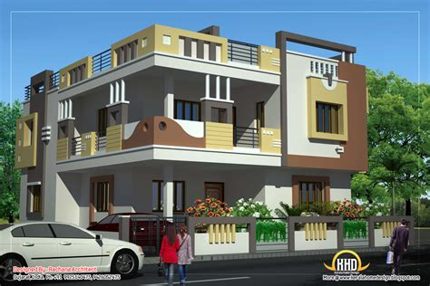 two house plans with front porch duplex house plan and elevation 2878 sq ft kerala