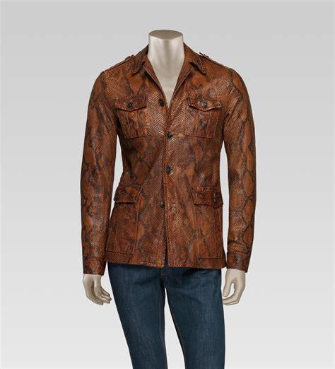 gucci safari jacket camel brown men lyst