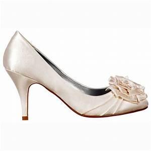 shoekandi bridal wedding low kitten heel shoes flower With low heel dress shoes for wedding
