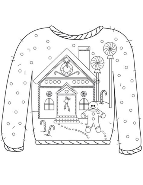 Christmas Ugly Sweater With Gingerbread Man Motif Coloring Page  Free Printable Coloring Pages