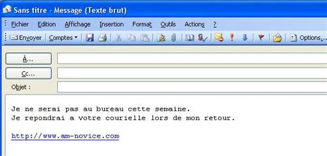 exemple message absence bureau exemple de outlook