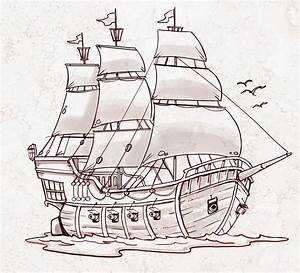 Pirate Ship - a sketch for a How to Draw book. | My ...