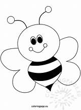 Bee Coloring Cartoon Pages Happy Little Bees Colouring Printable Spring sketch template