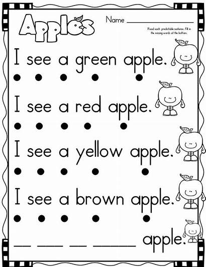 Apple Sentences Kindergarten Simple Preschool September Activities