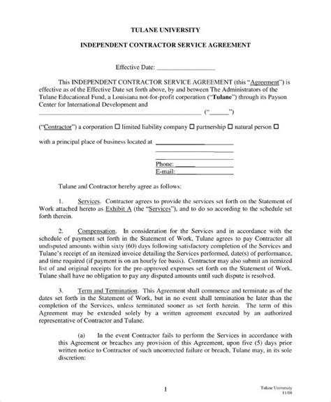 contractor agreement examples  word docs examples