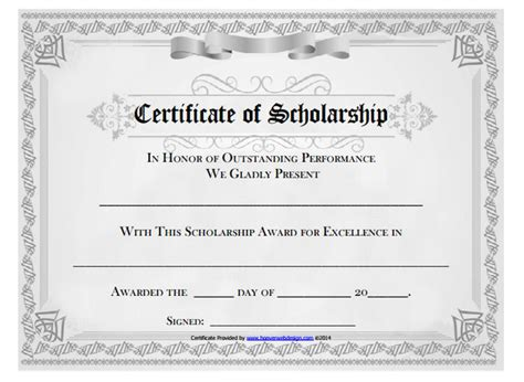 scholarship certificate template 25 free certificate templates