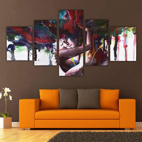 5pcs abstract couple canvas print paintings pictures home