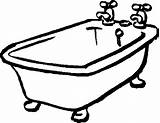 Tub Bathtub Clipart Bath Bathroom Coloring Clip Pages Cartoon Shower Cliparts Tubs Messy Related sketch template