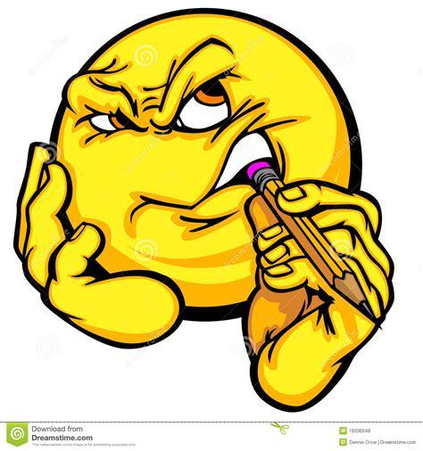 thinking clipart free thinking emoticon stock vector illustration of