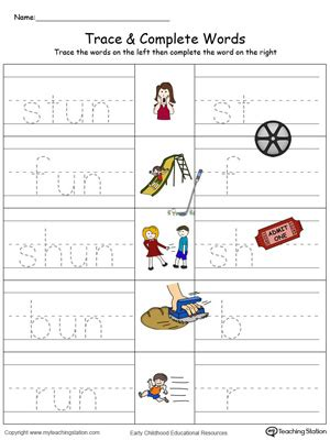 write in color un word family trace and write in color