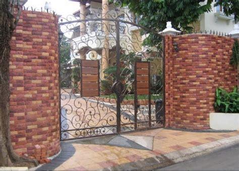 desain pagar rumah batu alam kayu tembok besi