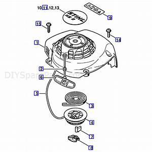 Stihl Hs 81 T Petrol Hedgetrimmer  Hs81t  Parts Diagram  Rewind Starter