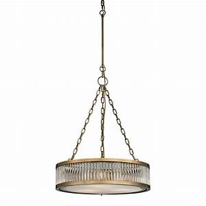 Elk linden aged brass drum pendant lighting