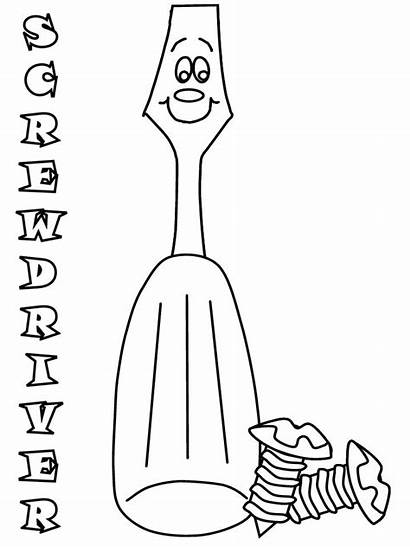 Coloring Pages Screwdriver Construction Sheets Printable Tools