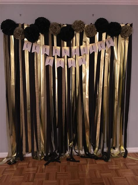 Graduation party ideas for decorations. Black and Gold Graduation Photo Wall | Gold party decorations, Gold birthday party