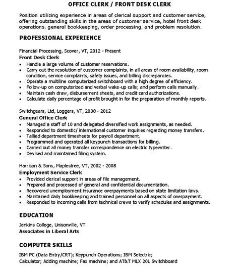 Front Desk Clerk Resume Skills by Sle Resume For Office Clerk Front Desk Clerk