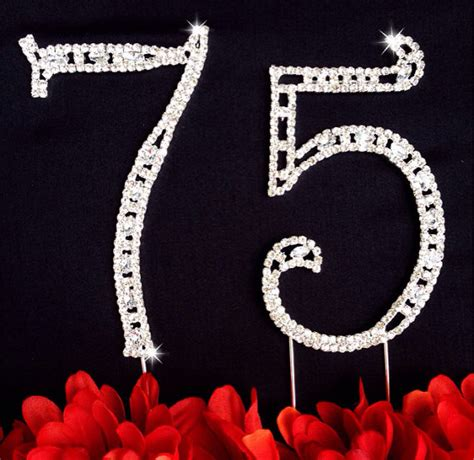 large rhinestone covered 75 75th 75th birthday wedding anniversary number cake topper large