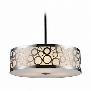 Elk lighting modern drum pendant light with white glass in