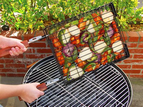 charcoal companion flip  easy nonstick heavy gauge rectangular grill basket cutlery