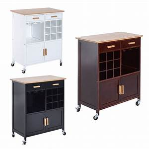 Homcom, 35, U0026quot, Rolling, Kitchen, Trolley, Serving, Cart, With, Wine, Rack