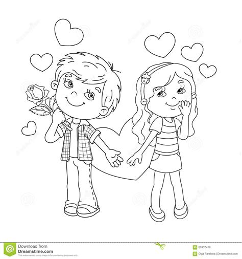 coloring page outline  boy  girl  hearts stock
