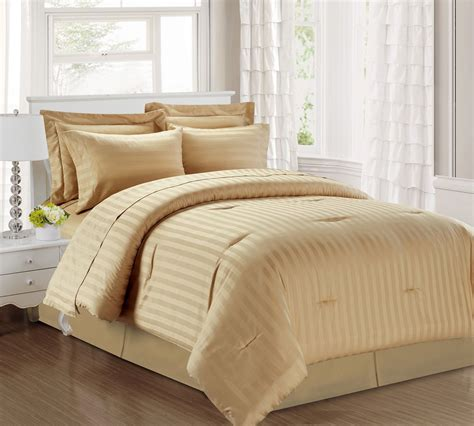 taupe bedding 3 piece damask stripe 500 thread count cotton comforter set taupe