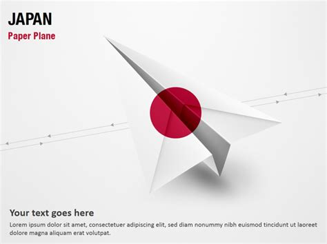 paper plane  japan flag powerpoint map  paper