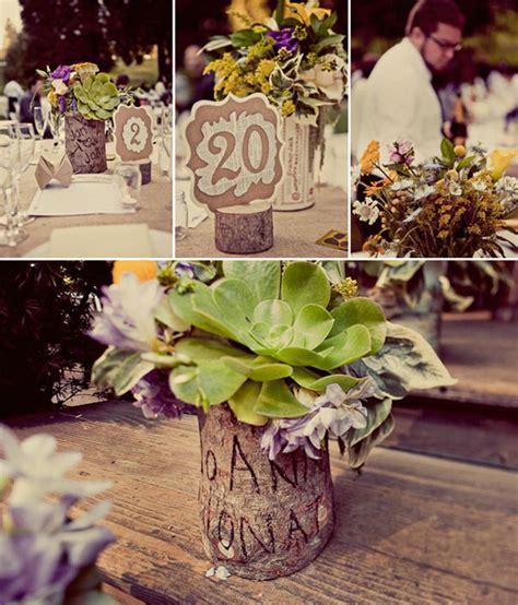 wooden bark centrepieces wedding decoration inspiration