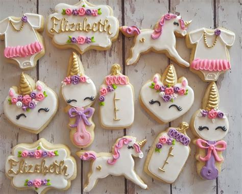 teal color clothes unicorn baby shower cookies hayley cakes and