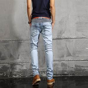 European Famous Brand Light Blue Jeans Men Casual Fold Holes Denim Biker Slim Stretch Pant ...