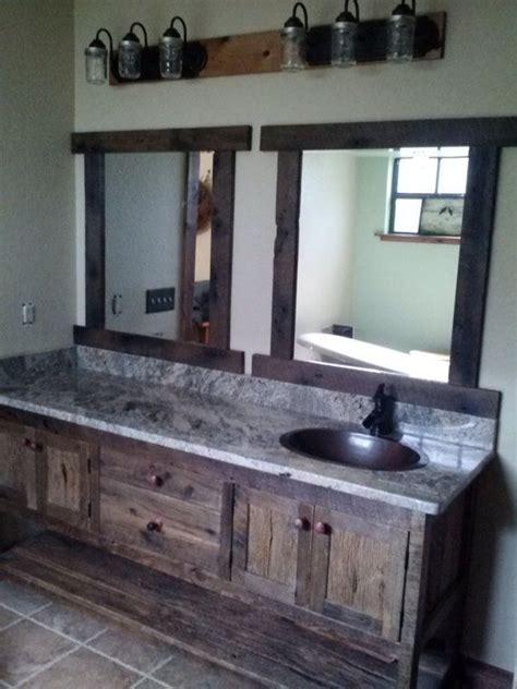 custom  vanity rustic barn wood  love  mason jar lights   roof pinterest