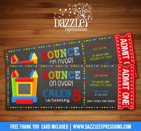 printable boy bounce house ticket birthday invitation
