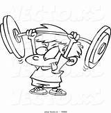 Barbell Coloring Pages Boy Crossfit Lifting Weight Cartoon Colouring Weightlifting Fitness Clipart Drawing Strength Strong Crazy Weak Person Boys Vector sketch template