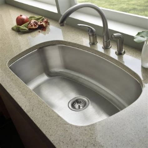 32 Inch Stainless Steel Undermount Curved Single Bowl